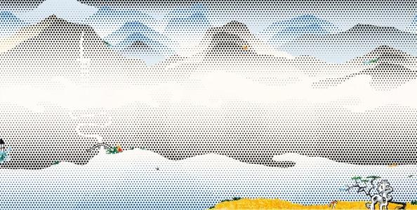 Landscape with Scholar's Rock, huile et magna sur toile (inspiré des estampes chinoises)